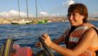 Greenpeace activist - Maite looking for the oile spill in El Jiye near power station in Lebanon
